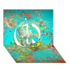 Abstract Garden In Aqua Peace Sign 3d Greeting Card (7x5)