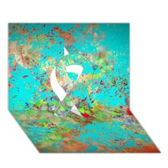 Abstract Garden in Aqua Ribbon 3D Greeting Card (7x5)