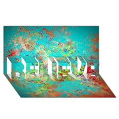 Abstract Garden In Aqua Believe 3d Greeting Card (8x4)