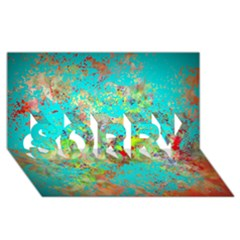 Abstract Garden In Aqua Sorry 3d Greeting Card (8x4)