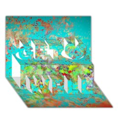 Abstract Garden in Aqua Get Well 3D Greeting Card (7x5)