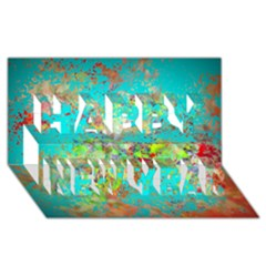 Abstract Garden in Aqua Happy New Year 3D Greeting Card (8x4)