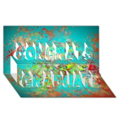 Abstract Garden in Aqua Congrats Graduate 3D Greeting Card (8x4)