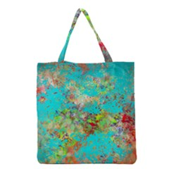 Abstract Garden In Aqua Grocery Tote Bags