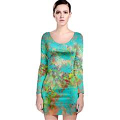 Abstract Garden in Aqua Long Sleeve Bodycon Dresses