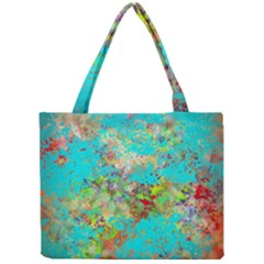 Abstract Garden in Aqua Tiny Tote Bags