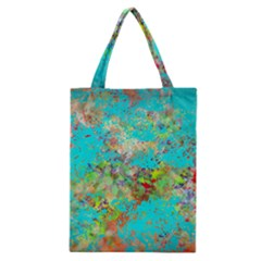 Abstract Garden in Aqua Classic Tote Bags