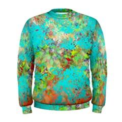 Abstract Garden in Aqua Men s Sweatshirts