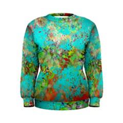 Abstract Garden in Aqua Women s Sweatshirts