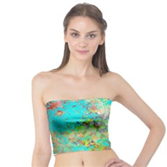 Abstract Garden In Aqua Women s Tube Tops