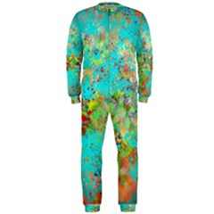 Abstract Garden in Aqua OnePiece Jumpsuit (Men)