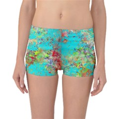 Abstract Garden In Aqua Boyleg Bikini Bottoms