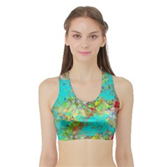 Abstract Garden in Aqua Women s Sports Bra with Border