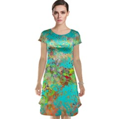 Abstract Garden in Aqua Cap Sleeve Nightdresses