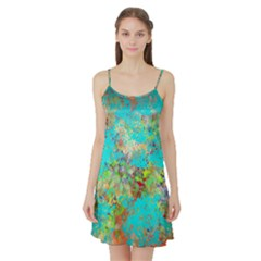 Abstract Garden in Aqua Satin Night Slip