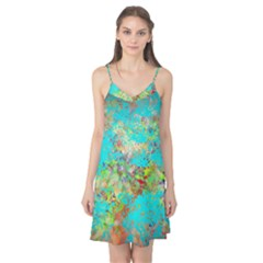 Abstract Garden In Aqua Camis Nightgown