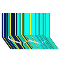 Hot Stripes Aqua Twin Heart Bottom 3d Greeting Card (8x4)