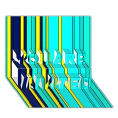 Hot Stripes Aqua You Are Invited 3d Greeting Card (7x5)