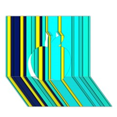Hot Stripes Aqua Apple 3d Greeting Card (7x5)