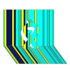 Hot Stripes Aqua Ribbon 3D Greeting Card (7x5)