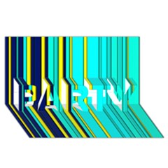 Hot Stripes Aqua PARTY 3D Greeting Card (8x4)