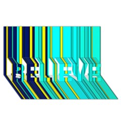 Hot Stripes Aqua BELIEVE 3D Greeting Card (8x4)