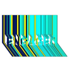 Hot Stripes Aqua ENGAGED 3D Greeting Card (8x4)