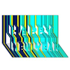 Hot Stripes Aqua Happy New Year 3D Greeting Card (8x4)