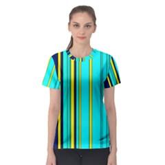 Hot Stripes Aqua Women s Sport Mesh Tees