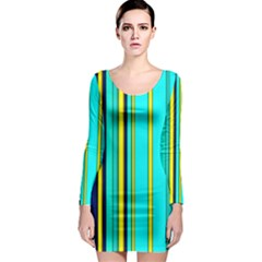 Hot Stripes Aqua Long Sleeve Bodycon Dresses