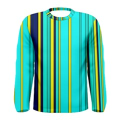 Hot Stripes Aqua Men s Long Sleeve T Shirts