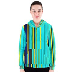 Hot Stripes Aqua Women s Zipper Hoodies