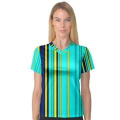 Hot Stripes Aqua Women s V-Neck Sport Mesh Tee
