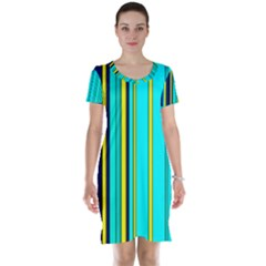 Hot Stripes Aqua Short Sleeve Nightdresses
