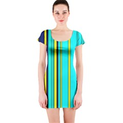 Hot Stripes Aqua Short Sleeve Bodycon Dresses