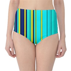 Hot Stripes Aqua High-Waist Bikini Bottoms