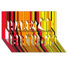Hot Stripes Fire Happy Birthday 3d Greeting Card (8x4)