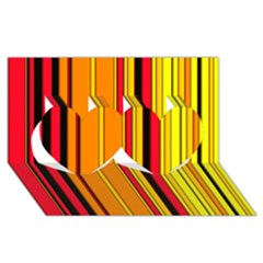 Hot Stripes Fire Twin Hearts 3D Greeting Card (8x4)