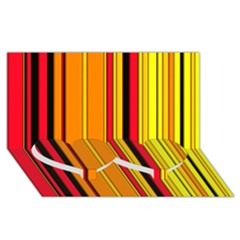 Hot Stripes Fire Twin Heart Bottom 3d Greeting Card (8x4)