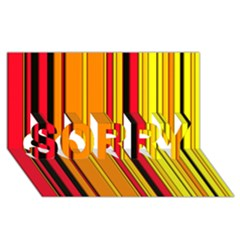 Hot Stripes Fire Sorry 3d Greeting Card (8x4)