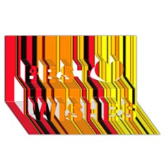 Hot Stripes Fire Best Wish 3D Greeting Card (8x4)