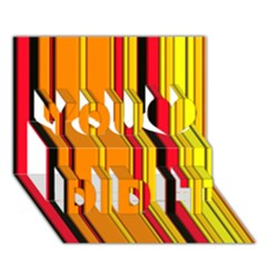 Hot Stripes Fire You Did It 3D Greeting Card (7x5)