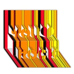 Hot Stripes Fire You Rock 3D Greeting Card (7x5)