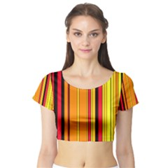 Hot Stripes Fire Short Sleeve Crop Top