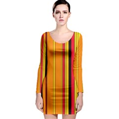 Hot Stripes Fire Long Sleeve Bodycon Dresses