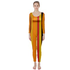 Hot Stripes Fire Long Sleeve Catsuit