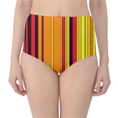 Hot Stripes Fire High-Waist Bikini Bottoms