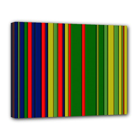 Hot Stripes Grenn Blue Canvas 14  X 11
