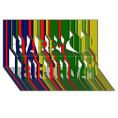 Hot Stripes Grenn Blue Happy Birthday 3d Greeting Card (8x4)