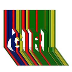 Hot Stripes Grenn Blue Girl 3d Greeting Card (7x5)